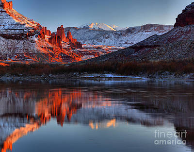 Print featuring the photograph Fisher Towers Sunset On The Colorado by Adam Jewell