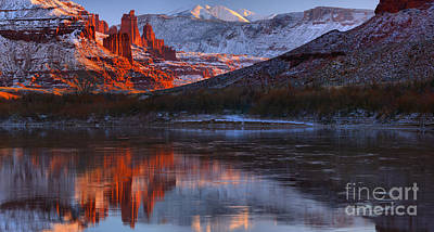 Print featuring the photograph Fisher Towers Sunset Reflection Panorama by Adam Jewell