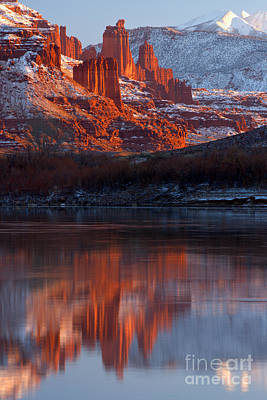 Moenkopi Sandstone Photograph - Fisher Towers Sunset Reflections by Adam Jewell