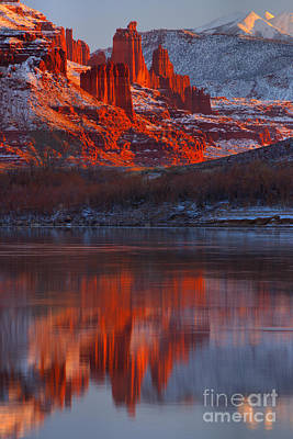 Moenkopi Sandstone Photograph - Fisher Towers Winter Sunset by Adam Jewell