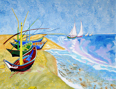 Fisherboats- Tribute To Van Gogh Print by Art by Danielle
