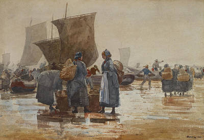 Painting - Fisherfolk On The Beach At Cullercoats by Winslow Homer
