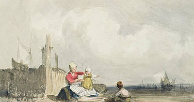 Landscape Drawing - Fisherfolk On The Beach by Richard Parkes Bonington