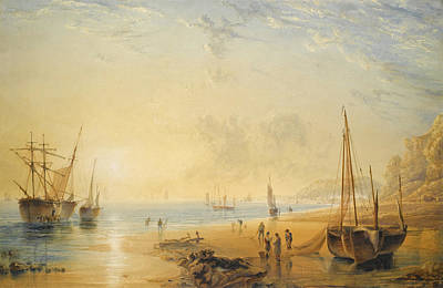 Drawing - Fisherfolk On The Shore Near Dover At Sunset by Anthony Vandyke Copley Fielding