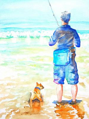 Painting - Fisherman And Dog At The Beach by Carlin Blahnik