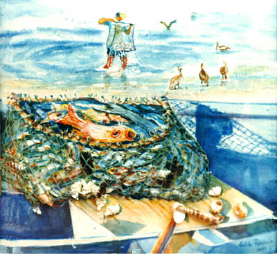 Fisherman And His Assistants Art Print by Estela Robles