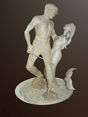 Sculpture - Fisherman And Mermaid by Jacqueline Del  Fonso