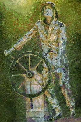 Mixed Media - Fisherman At The Helm by Joseph Hollingsworth