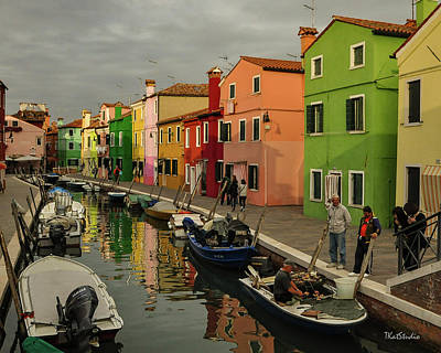 Fisherman At Work In Colorful Burano Art Print