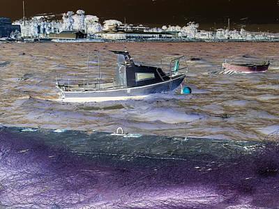 Port Town Mixed Media - Fisherman Boat. by Benny Blitzblau