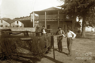 Photograph - Fisherman Drying Nets In Yard Of The Custom House With J.k. Oliver Store 1929 by California Views Archives Mr Pat Hathaway Archives