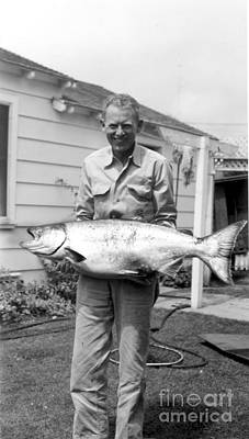 Photograph - Fisherman Holding A King Salman by California Views Archives Mr Pat Hathaway Archives