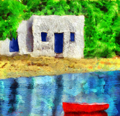 Vacations Painting - Fisherman House by George Rossidis