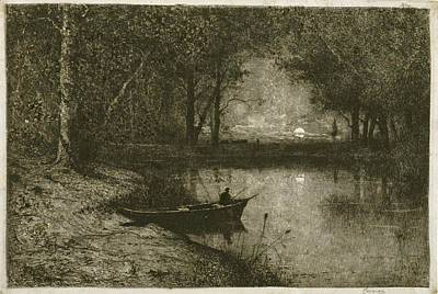 Drawing - Fisherman In A Rowboat At The Edge Of A River by Adolphe Appian