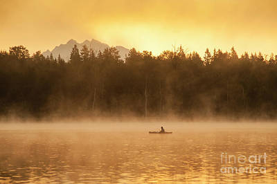 Photograph - Fisherman In Kayaks Lake Cassidy by Jim Corwin