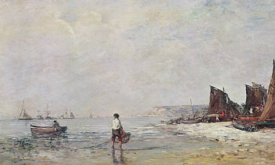Boats In Water Painting - Fisherman In Villerville by Eugene Louis Boudin