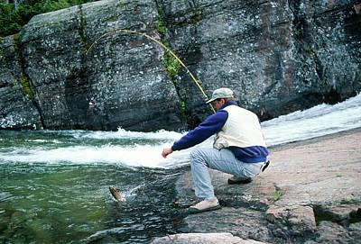 Fisherman Landing A Yellowstone Cutthroat In A Clear Mountain St Art Print