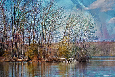 Fisherman On Burke Lake Art Print