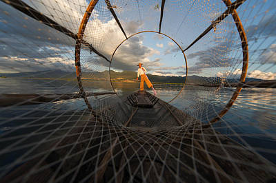 Net Photograph - Fisherman On Inle Lake by Mark Prior