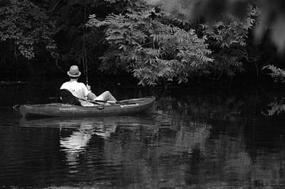 Fisherman On Lady Bird Lake - Bw Art Print