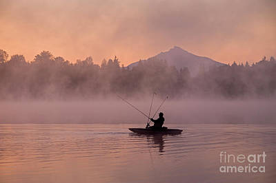 Photograph - Fisherman On Lake Cassidy Casting Line At Sunrise  by Jim Corwin