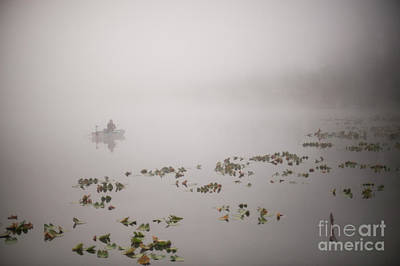 Photograph - Fisherman On Lake Cassidy In Fog by Jim Corwin