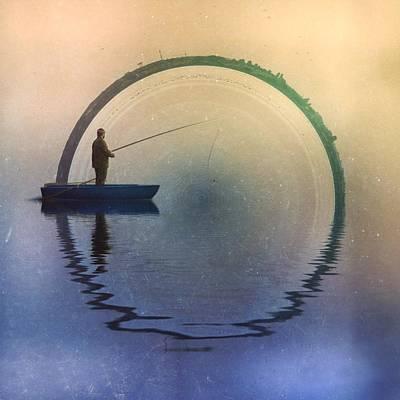 City Sunset Digital Art - Fisherman by Raqee Najmuldeen