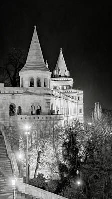 Photograph - Fishermans Bastion At Night Budapest Bw by Joan Carroll