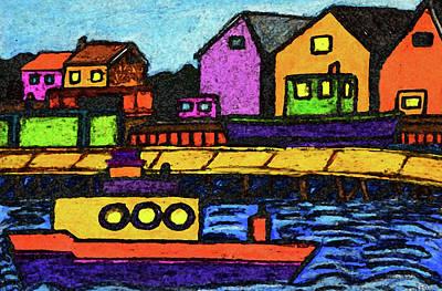 Folkart Mixed Media - Fishermans Dock by Monica Engeler