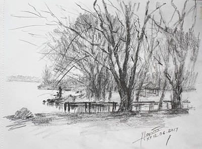 Landscape Drawing - Fisherman's Park by Ylli Haruni
