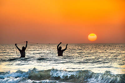 Gravure Photograph - Apulia Canvas Fishermans Pull Their Fishnets At The Sunset On Adriatic Sea  by Luca Lorenzelli
