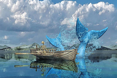 Reflected Digital Art - Fisherman's Tale by Betsy Knapp