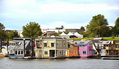 Photograph - Fishermans Wharf Float Houses Victoria British Columbia Canada Painting by Barbara Snyder