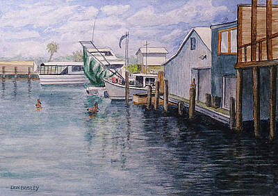 Painting - Fisherman's Wharf Galveaston by Don Bosley