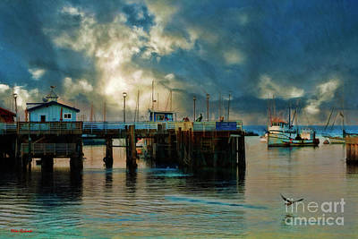 Photograph - Fisherman's Wharf Monterey Seagul Take Offl by Blake Richards