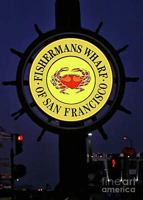Photograph - Fishermans Wharf Sign At Night by Gabriele Pomykaj