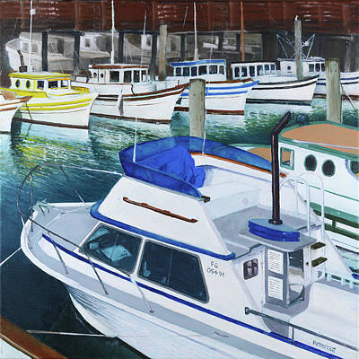 Painting - Fisherman's Wharf Squared by Mike Patterson