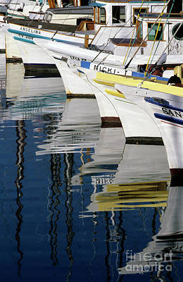 Photograph - Fisherman's Wharf With Fishing Boat Moored And In A Row Waterfro by Jim Corwin