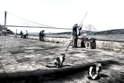 Mixed Media - Fishermen And Cats Istanbul Art by David Pyatt