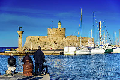 Fisherman Photograph - Fishermen And Sailboats In Rhodes, Greece by Global Light Photography - Nicole Leffer