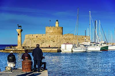Fishermen And Sailboats In Rhodes, Greece Art Print