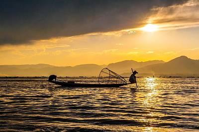 Photograph - Fishermen At Inle Lake Myanmar by Judith Barath