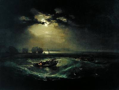 Moon Painting - Fishermen At Sea Exhibited by Joseph Mallord
