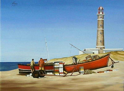 Fishermen By Lighthouse Art Print