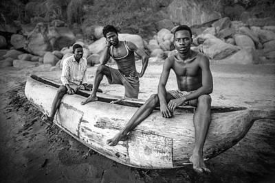 Canoe Photograph - Fishermen by Carlos German Romero