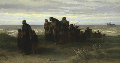 Drowned Painting - Fishermen Carrying A Drowned Man by Jozef Israels