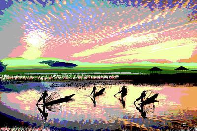 South Sea Mixed Media - Fishermen by Charles Shoup