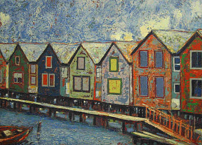 Print featuring the painting Fishermen Huts by Walter Casaravilla