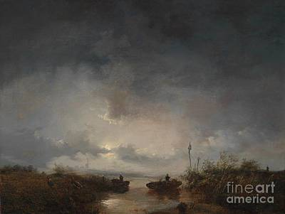 Moonlit Painting - Fishermen In A Moonlit by MotionAge Designs
