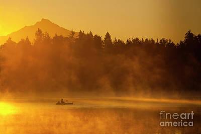 Photograph - Fishermen In Kayak Fishing At Sunrise by Jim Corwin
